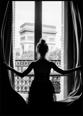 Girl in Paris Window, Poster