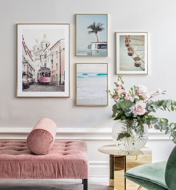 Modern gallery wall with golden frames and summer motifs