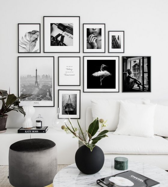 Mur Photo Posters Noir et Blanc Salon